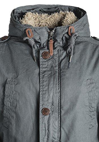 SOLID Clark Teddy Herren Parka lange Winterjacke aus 100% Baumwolle mit Kapuze und Kunstfellkragen, Größe:M, Farbe:Dark Grey (2890) - 6