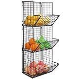 MyGift Rustikal Braun Metall Draht 3Ebenen Wand montiert Küche Obst Bin Rack/Badezimmer Handtuch Körbe