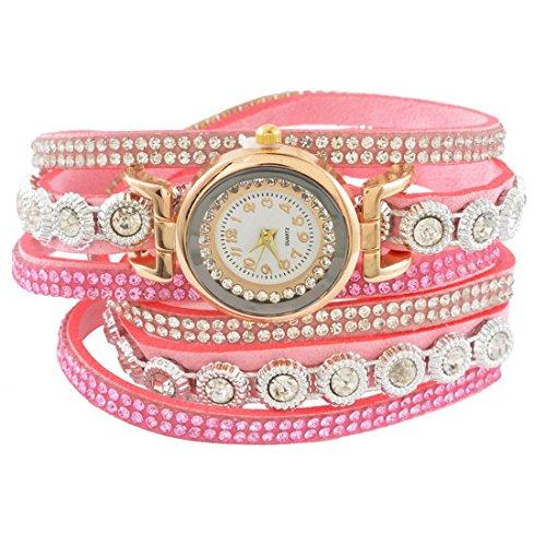 MJARTORIA Damen Boho Indien Armbanduhr Elegant mit Strass Charms Damenuhr Analog Quarz Uhr Für Mädchen Rosa