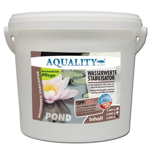 AQUALITY Wasserwerte Stabilisator POND 5.000 g (GRATIS Lieferung innerhalb Deutschlands - Sorgt langfristig für stabile, sichere und artgerechte Wasserwerte im Gartenteich - Reguliert die Karbonathärte schnell und zuverlässig und stabilisiert den pH-Wert)