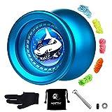 Responsive Yoyo, Metall Pro Yoyo Ball aus legiertem Aluminium, blau T9 für Anfänger mit Ersatzlos Yoyo Lager für fortgeschrittene Spieler, mit Lager Removal Tool, 3 Strings, Handschuh, Tasche (blau)