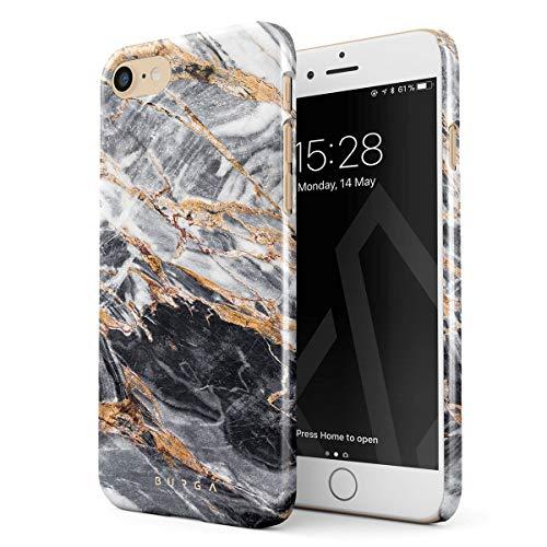 BURGA Hülle Kompatibel mit iPhone 7 / iPhone 8 Handy Huelle Schwarz Marmor Gold Black Marble Mädchen Dünn, Robuste Rückschale aus Kunststoff Handyhülle Schutz Case Cover