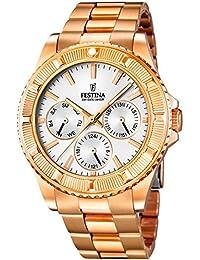Festina F16786/1 - Reloj para mujeres, correa de acero inoxidable color oro rosa