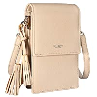 MACLLYN Women Small Crossbody Bag Leather Cell Phone Purse Wallet with Credit Card Beige Size: S