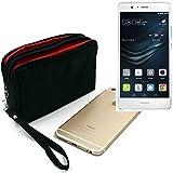 K-S-Trade® P. Huawei P9 Lite Dual Sim Confezione da Cintura Nero. Travel Bag Copertura Custodia da Viaggio con Protezione Anti-furto Body Bag Borsa Protettiva Grandi Scomparti per Armi Sacchetto