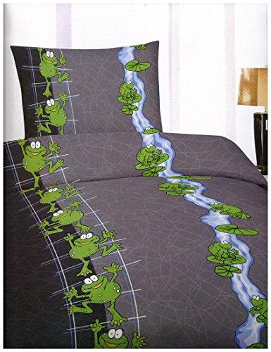 Leonado Vicenti 4 Teilige Bettwäsche Microfaser 135×200 cm Frosch Grün Grau mit Reißverschluss Sparset