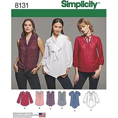 Simplicity 8131Donna Fiocco camicette manica con variazioni Sewing Patterns, Bianco,
