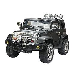 HOMCOM Elektroauto Kinderauto Kinderfahrzeug Kinder Elektro Auto Fahrzeug Spielzeug (Jeep/schwarz)