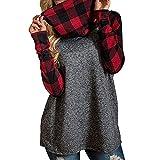 feiXIANG Rollkragen Pullover Damen Oversize Kariertes Sweatshirt Langarm Blusen Damenblusen Freizeit Festliche Hemd Shirt (XXXXL, rot)
