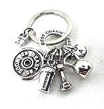 Schlüsselanhänger Beast Mode 24 Anfangsbuchstabe Workout Kettlebell, Shaker, Hantel,...