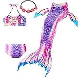 UrbanDesign Meerjungfrau Bademode Mädchen Meerjungfrau Badeanzug Schwanzflosse Zum Schwimmen Kostüm Für Kinder, 9-10 Jahre, Lavendel