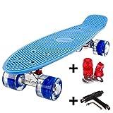 FunTomia® Mini-Board 57cm Skateboard mit oder ohne LED Leuchtrollen inkl. Aluminium Truck und Mach1 Kugellager in verschiedenen Farben zur Auswahl T-Tool (Deck in blau/ Rollen in blau mit LED + T-Tool + Lenkgummis)