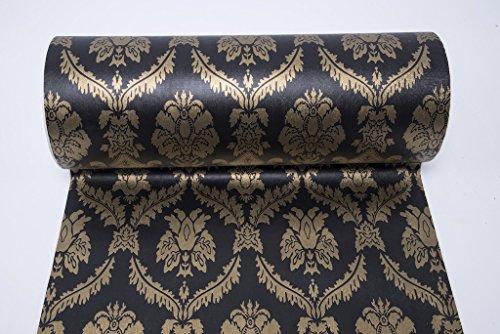 Selbstklebend Schwarz Damast Tapete Kontakt Papier Regalen für Küche Schubladen Schränke Regale Theken Wand Aufkleber (61 x 495,3 cm)