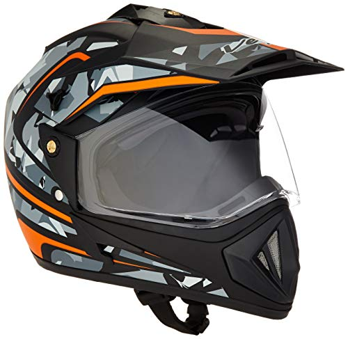 Vega Off Road D/V Camo Full Face Helmet (Dull Black and Orange, M)