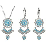 Lucia Costin Silver, Light Blue Crystal Jewelry Set, Delicate Enriched