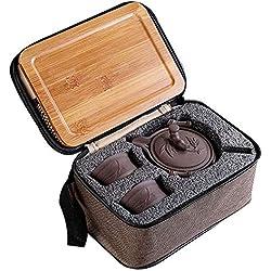 Conjunto de tetera china Yixing La Haute, hecha a mano, de arcilla morada