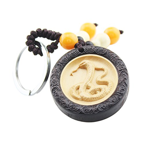foy-mall Chinesisches Sternzeichen Serie Schlange Ebenholz mit Buchsbaumholz Einlage Auto Schlüsselanhänger Key Ring für Frauen Herren M1077 -