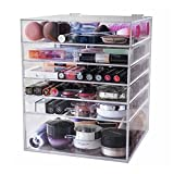 Display4top Caja acrílica Estante de maquillajes Maquillaje Cosméticos Joyería Organizador (6 Tier Clear)