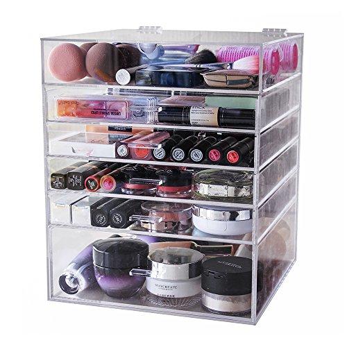 Display4top Organisateur Maquillage Acrylique Boîte à Bijoux Transparent Rangement de Maquillage Pinceaux (6 Tier Clear)
