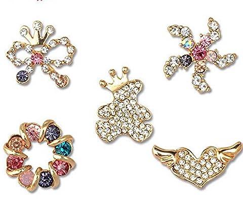 Créatif Broche en émail broche Bague de couleur Aile d'amour nœud papillon étoile de mer ours Broche en diamant 5Pcs