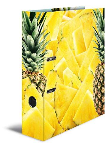 Herma 7113 Karton Motivordner DIN A4, Serie Früchte, Design Ananas, 70 mm breit, 1 Ordner, mit Innendruck