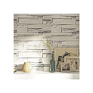JLCorp Waterproof Self-Adhesive White Grey Brick Pattern Peel-Stick Wallpaper 45cmx 3 Meters,17