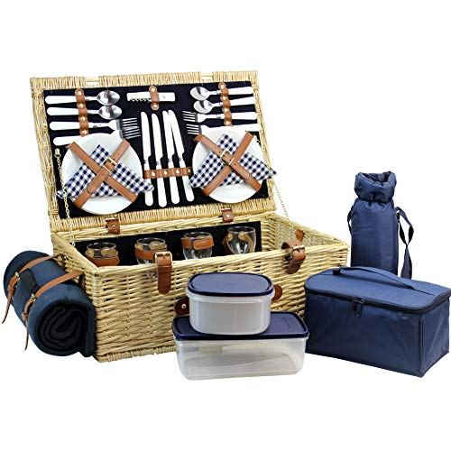 HappyPicknickkorb für 4 Personen, Naturweiden-Picknickkorb, Picknick-Set mit Weintasche, Kühltasche, Decke und Geschirr Marineblau