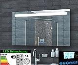 Multimedia Badezimmer Spiegel LED Beleuchtung 51 LED Handy Halterung Uhr Radio MP3 USB Touchschalter...