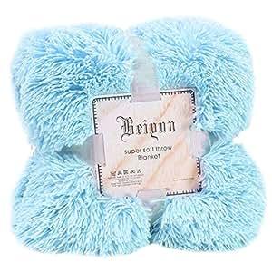 Xshuai ® Large Soft Warm Blanket Long Shaggy Cozy Fluffy Faux Fur Throw Blanket Sofa Double King Bed Blanket, Full 130 X 160cm (Light blue)