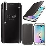 VCOMP Housse Coque Etui Clear View Smart Cover pour Samsung Galaxy S6 edge SM-G925/ S6 edge (CDMA)/ G925F/ G925T/ G9250/ G925A/ G925FQ/ G925L/ G925P/ G925R/ G925V/ G925W8 + stylet - NOIR