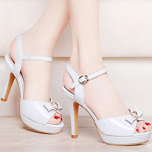 ZPPZZP La sig.ra sandali scanalato in stile occidentale con ammenda a tacco alto 35EU