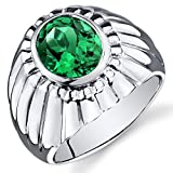 Revoni Mens Bezel Set 3.75 Carats Oval Cut Emerald Ring In Sterling Silver With Rhodium Finish