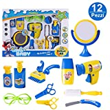 Forweilai 12 Pezzi Kit Parrucchiera Giocattolo, Asciugacapelli Elettrico Strumenti per Il Barbiere Kit di Giocattoli per Bambini [con Suono e Luce] -