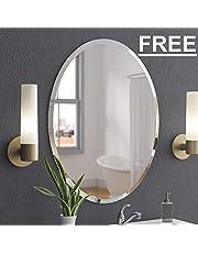 Creative Arts n Frames Exquisite Oval Frame Less Beveled Mirror for Dressing, Bedroom,Bathroom, Living Room (18X24)