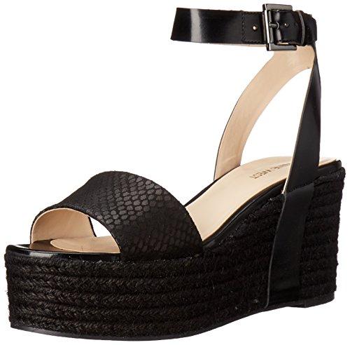 Nine West Womens Edoile Synthetic Wedge Sandal Black/black