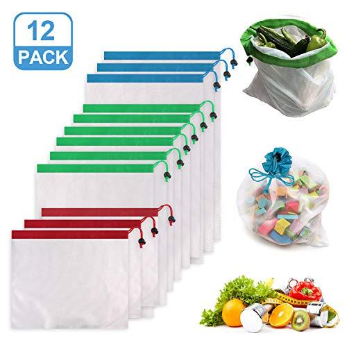Reastar 12 Stück Obst und Gemüsebeutel wiederverwendbar Aufbewahrungstasche mit Drei Größen für Einkaufen Aufbewahrung Obst Gemüse Spielzeug mit Kordelzug