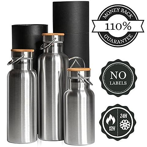 Insulated Bottle & Water Bottle Single Wall 500ml, 0.5L 750ml, 0.75L 1000 ml, 1L - Stainless Steel, 110% Money back GUARANTEE