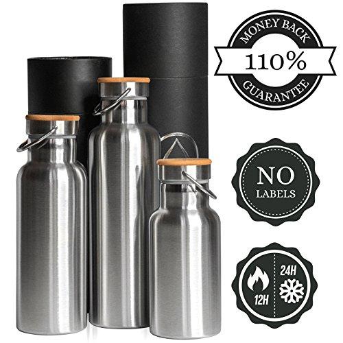 Pure Design®- Botella Térmica Acero Inoxidable Doble Pared para Niños, Libre de...