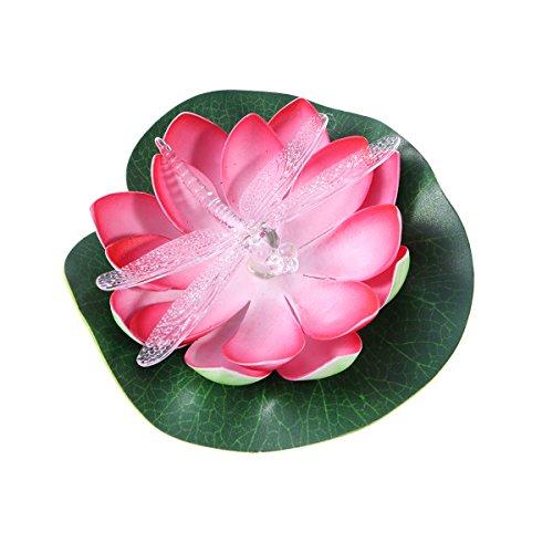 etriebene Licht Schwimmende Lotus Blume Licht Wasserdichte Bunte Solar Licht für Pool Teich Garten Im Freien (Rote Libelle) ()