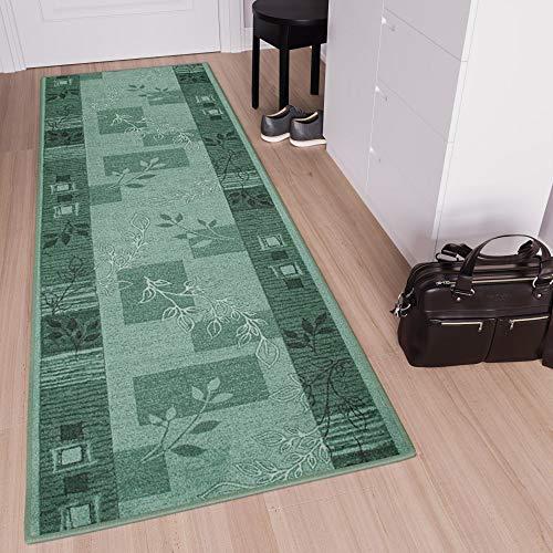 Tapiso Anti Rutsch Teppich Läufer Rutschfest Brücke Meterware Modern Grün Schwarz Dunkelgrün Vierecke Floral Design Flur Küche Wohnzimmer 80 x 800 cm - Grüner Läufer Teppich
