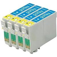 4 Compatibile Ciano Cartuccia stampante per sostituire T0442 per l'uso in Epson Stylus C64, C64 Photo Edition, C66, C68, C84, C84 Photo Edition, C84N, C84WN, C86, C86 Photo Edition, CX3600, CX3650, CX4600, CX6400, CX6600