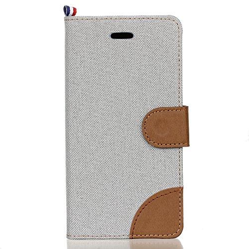 Meet de Apple iphone 6 Plus / iphone 6S Plus Case, Apple iphone 6 Plus / iphone 6S Plus (Denim Textures) pour Folio Wallet flip étui en cuir / Pouch / Case / Holster / Wallet / Case, Apple iphone 6 Pl gris