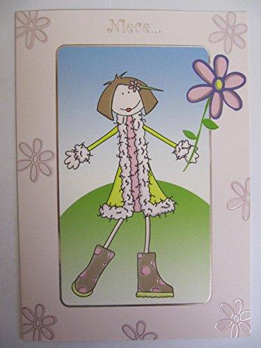 Fantastische Bunte Blumen & Outfit Nichte Geburtstag Grußkarte (Boys Ostern Outfits)