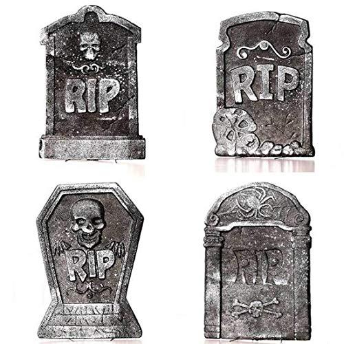 FELICID Pack von 4 Grabstein Halloween Dekoration, grau, 4style Leichtschaum Garten Friedhof Statue 15-Zoll groß RIP (Color : C+D)