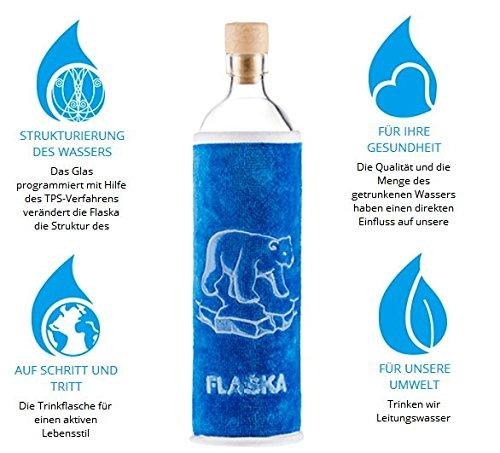 Design Soft Bear Eisbär Bär 0,5 Liter - Flaska Trinkflasche Wasserflasche Glasflasche zum regelmäßigen Wassertrinken + 2 Korken