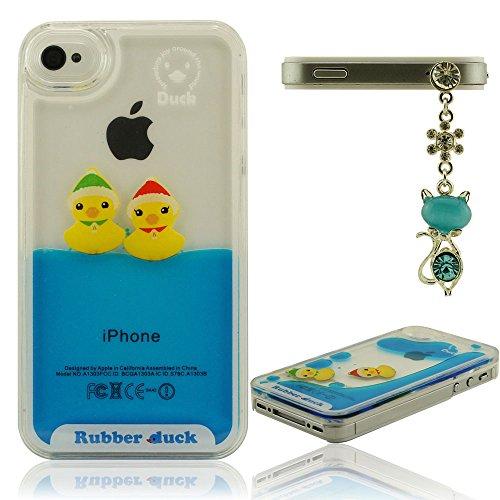 Belle conception pour iPhone 4 4S Dur Coque, Transparent Case, Liquide Style Housse de Protection, Étui protecteur Résistant aux chocs, Beau Canard Flottant, Rubber Duck C