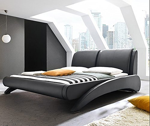 Doppelbett Polsterbett Lattenrost Kunstleder (Schwarz, 180x200cm) thumbnail