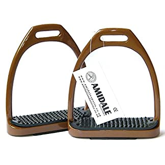 """AMIDALE SPORTS ALUMINUM LIGHT WEIGHT STIRRUPS HORSE RIDING WITH TREADS 4.75"""" BROWN 10"""