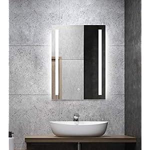 ALLDREI Badspiegel mit Beleuchtung AD27 Badezimmerspiegel mit LED licht, Touch Schalter - Senkrecht Montage 50 x 70 cm, Weiß Lichtfarbe, Farbtemperatur 6500K, Lumen 936, Energieklasse A++