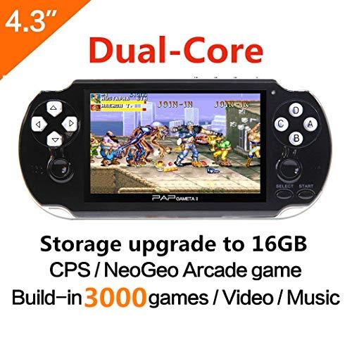 Dual-core 16GB 64Bit Console de jeux pour ordinateur de poche 4.3 pouces Built-in 3000 Support de jeu classique Cable AV Consoles de jeux portables CPS/NEOGEO/GBA/SFC/MD/FC/GBC/SMS/GG/GB